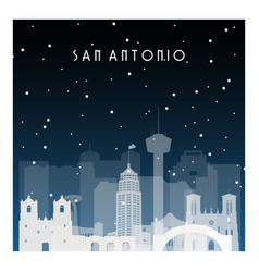winter night in san antonio night city in flat vector image