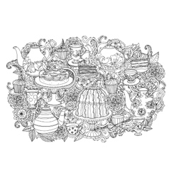 With elements of time for tea vector image vector image