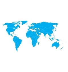 World Map with state name labels Blue land vector image