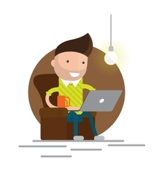 Young adult man working at home vector image vector image