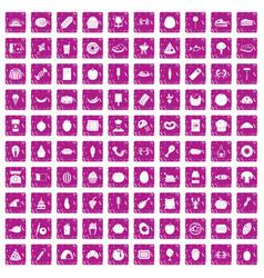 100 favorite food icons set grunge pink vector image vector image