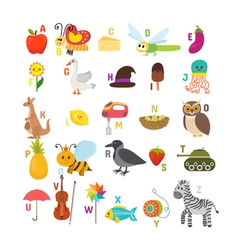 Learn to read Children alphabet with cute cartoon vector image