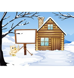 Wooden hut in the snow field vector