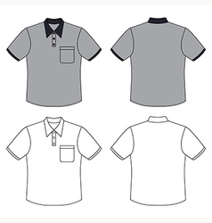 Mans buttoned shirt outlined template vector