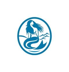 Mermaid siren sitting singing oval retro vector