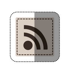 Sticker monochrome square with wifi icon vector