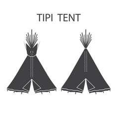 Monochrome tourist indian or tipi tents for vector