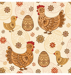 Seamless pattern with folk chicks and eggs vector
