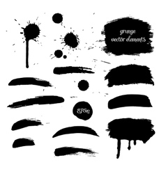 Collection black grunge watercolor element vector