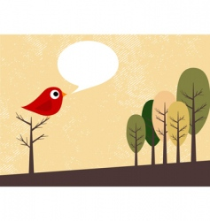 bird and trees vector image