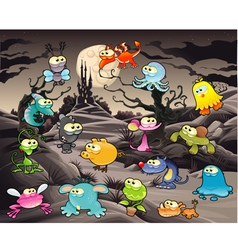 Funny monster with landscape and castle vector