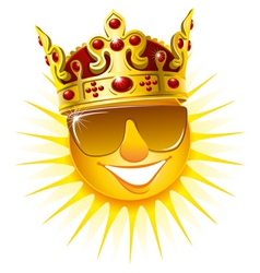 Sun in a golden crown vector