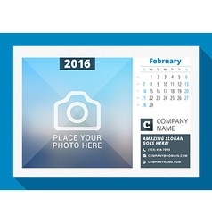 February 2016 desk calendar for 2016 year design vector
