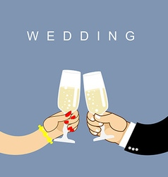 Wedding newlyweds clink glasses bride and groom vector