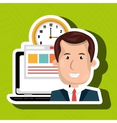 Man and computer isolated icon design vector