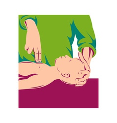 Adult performing cpr on an infant child vector