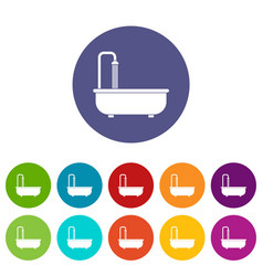 Bathroom icons set flat vector