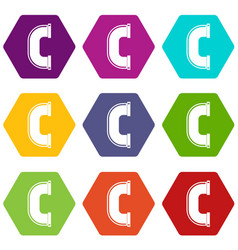 C joint pipe icon set color hexahedron vector