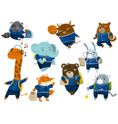 cute funny animal students set back to school vector image