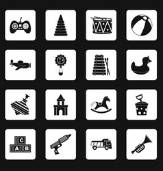 Different kids toys icons set squares vector
