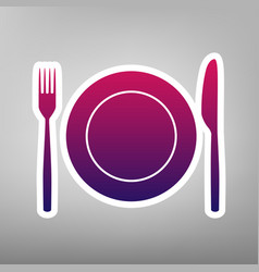 Fork knife and plate sign purple vector