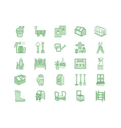 Gardening planting horticulture line icons vector