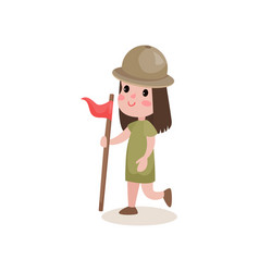 Girl scout character running with flag in hand vector