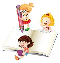 Girls reading and writing book vector image vector image