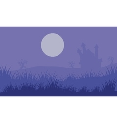 Halloween foogy castle and moon vector