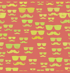 hipster mustache and glasses seamless pattern vector image vector image