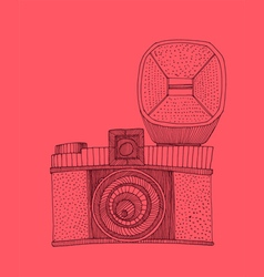 Hipster photo camera with flash engraved retro vector