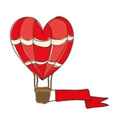 hot air balloon cartoon icon image vector image