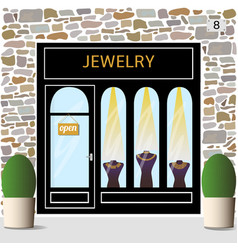 Jewelry shop building facade of stone vector