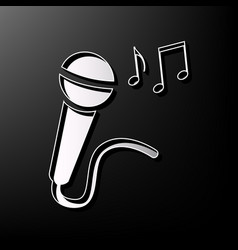 Microphone sign with music notes gray 3d vector