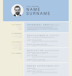 Minimalistic light cv resume template vector