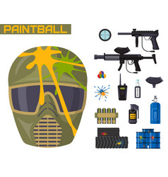 Paintball club icons protection uniform and sport vector