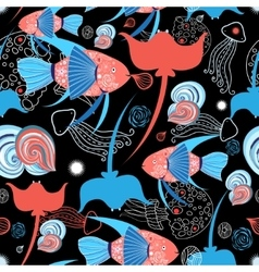 pattern with stingray and fish vector image