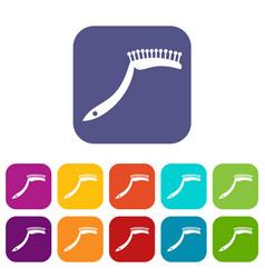 Pet comb icons set flat vector