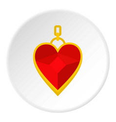 Red heart shape gemstone pendant icon circle vector