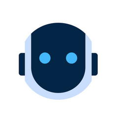 Robot face icon silent shocked face emotion vector