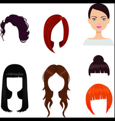 set of six woman haircuts vector image vector image