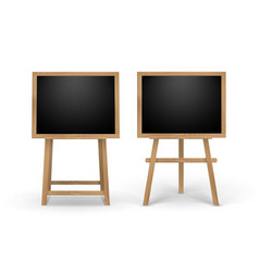 set of wooden easels with black boards vector image vector image