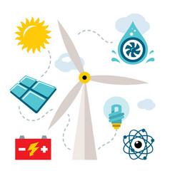 Set - types of power generation flat style vector