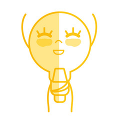 Silhouette kawaii cute happy bulb energy with arms vector