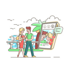 Young couple in love with phone vector
