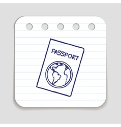 Doodle passport icon vector