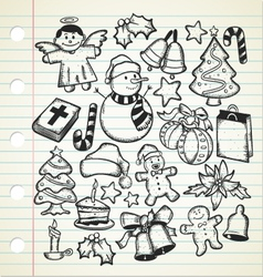 big set of christmas doodles vector image