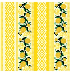 Seamless striped background with yellow flowers vector