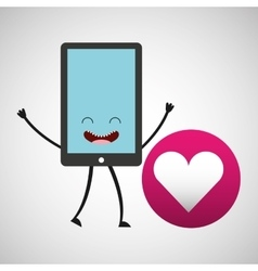 smartphone character and heart love vector image
