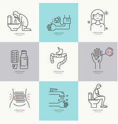 Diarrhea flat icons vector